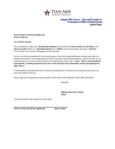 sample offer letter for internal promotion