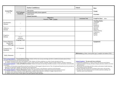 sample physical education lesson plan template 1