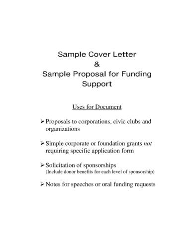 sample proposal for funding support
