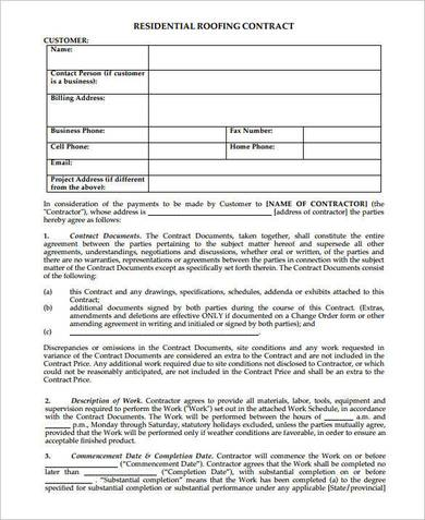 sample residential roofing contract form