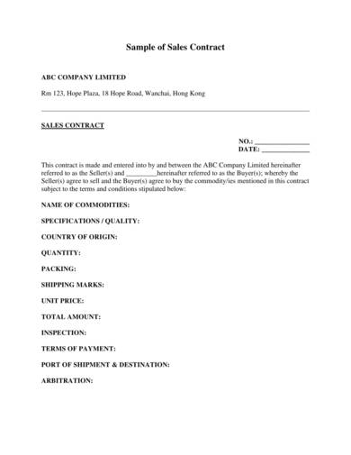 sample sales contract 1