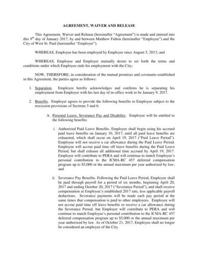 sample separation agreement waiver and release