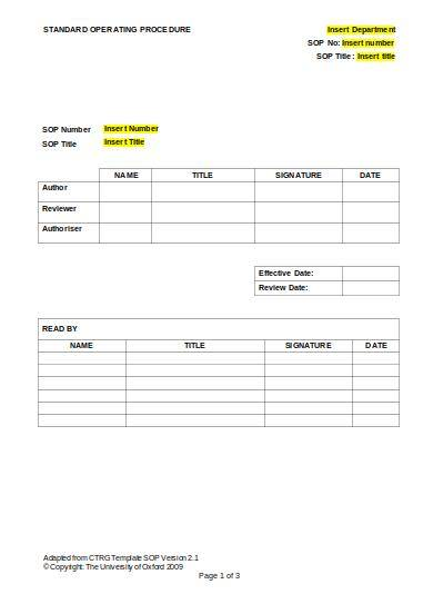 sample standard operating procedure template