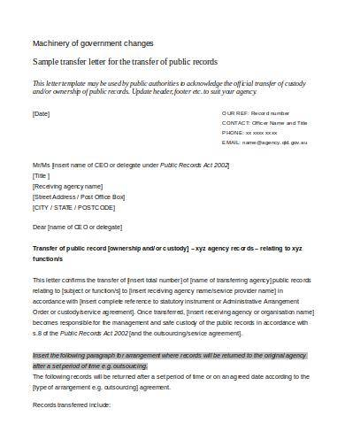 sample transfer of ownership letter for public records
