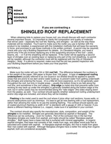 shingled roof replacement contract sample