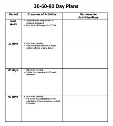 simple 30 60 90 day action plan template
