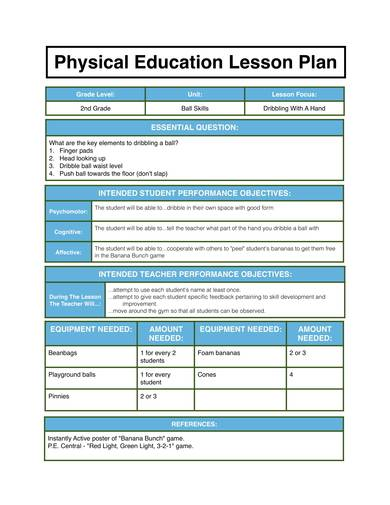 simple physical education lesson plan 1