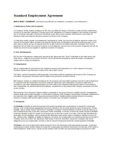 standard employment agreement contract sample