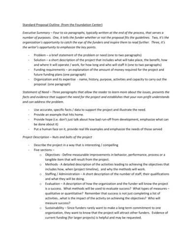 standard fundraiisng proposal outline