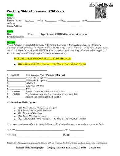 9 Videography Contract Samples Pdf Word