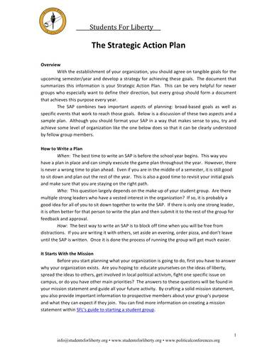 students strategic action plan sample 1