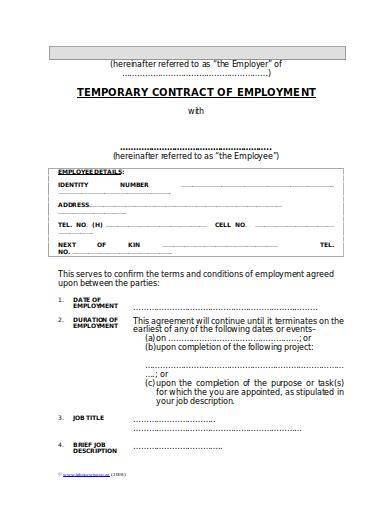 temporary employee contract sample