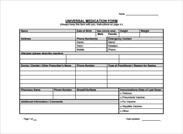 universal medication doctor prescription form