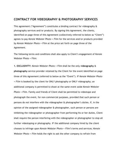 videography and photography services contract