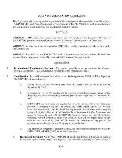 voluntary employment separation agreement sample