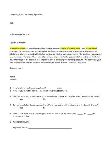 Free 9  Volunteer Reference Letter Samples In Pdf