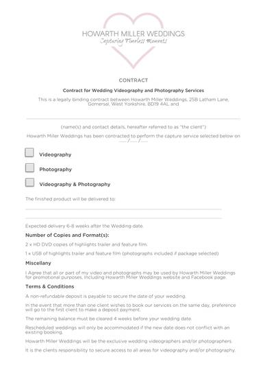 wedding videography and photography services contract