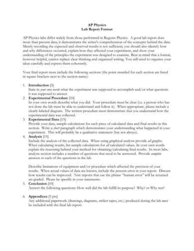 ap physics lab report format sample 1
