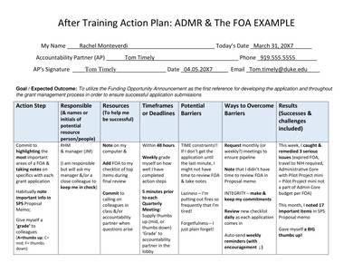 after training action plan sample