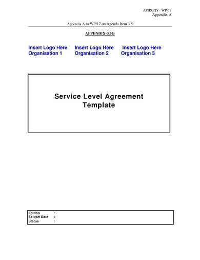 basic service level agreement template