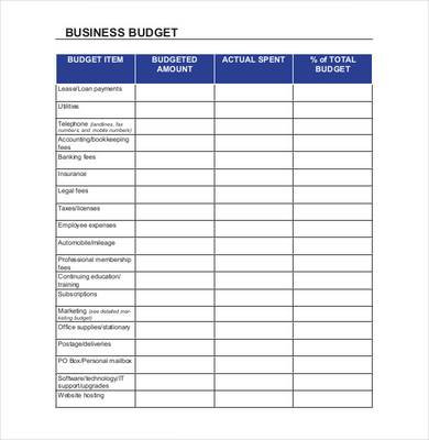 business budget spreadsheet sample