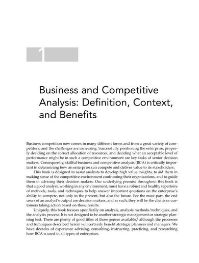 business and competitive analysis sample
