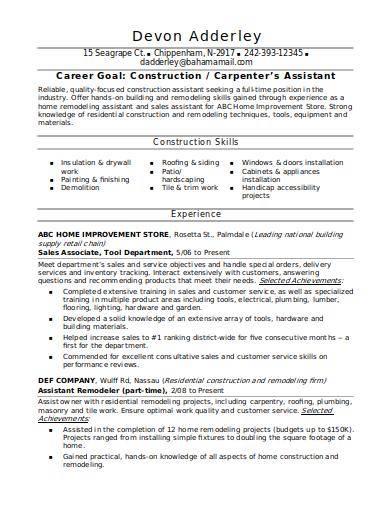 carpenter's assistant resume sample