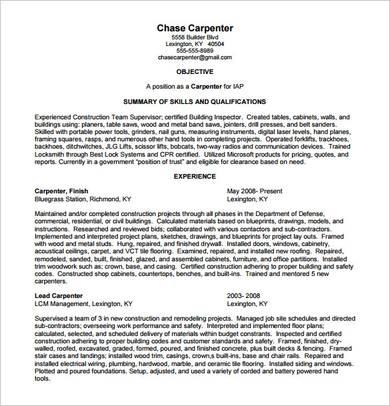 carpenter supervisor resume sample