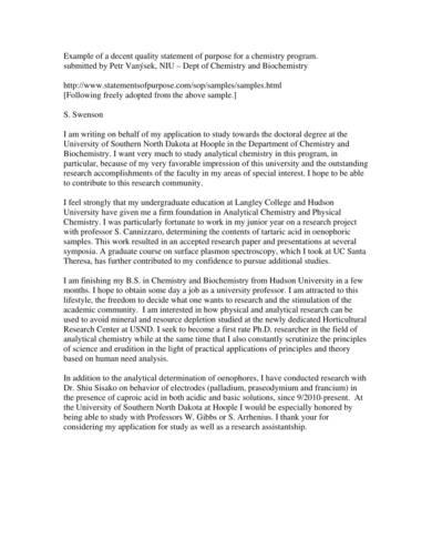 chemistry program statement of purpose sample