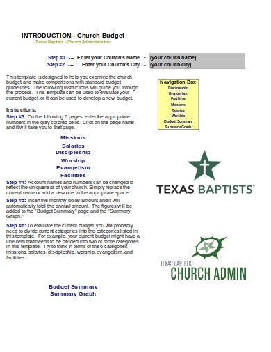 church budget worksheet template