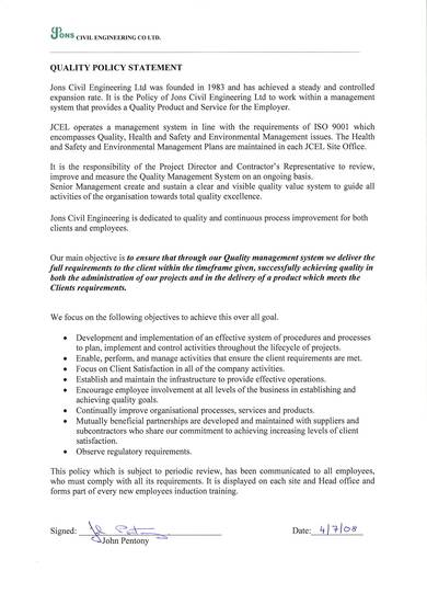 civil engineering quality policy statement
