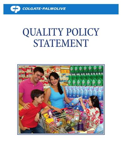 colgate sustainability quality policy sample