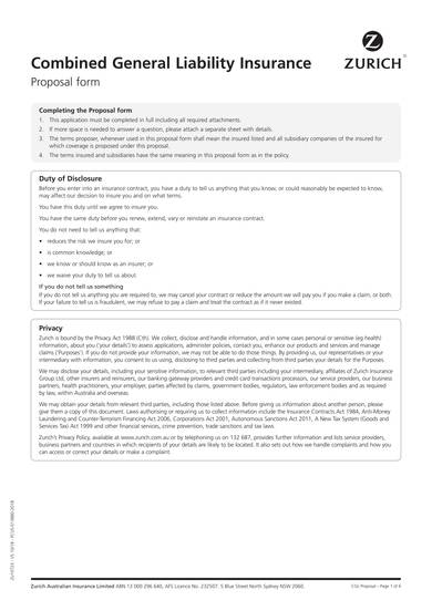 combined general liability insurance proposal template