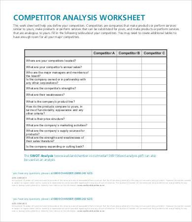 competitor analysis worksheet sample