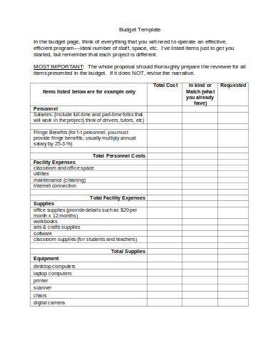 construction budget planning template