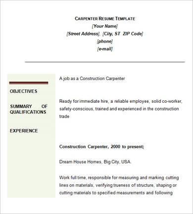 construction carpenter resume sample 1