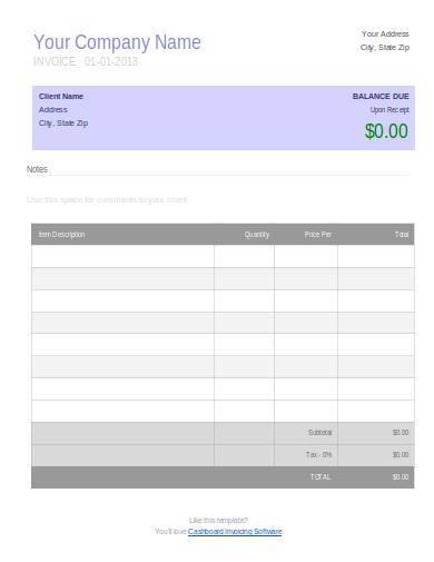 contractor company invoicetemplate