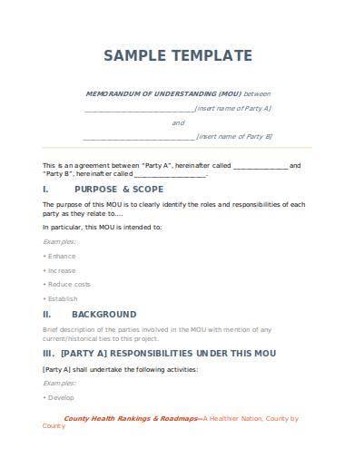 customizable memorandum of understanding sample template