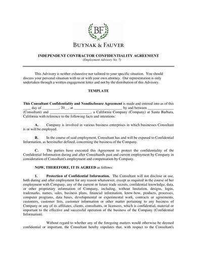 detailed contractor confidentiality agreement template
