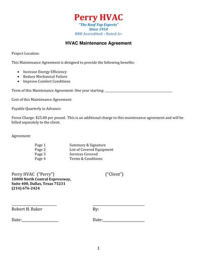 detailed hvac maintenance agreement contract