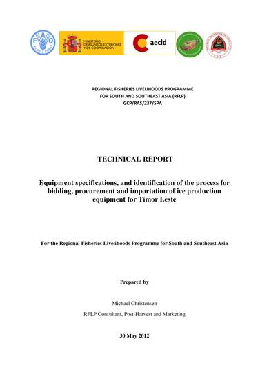 equipment specifications technical report sample
