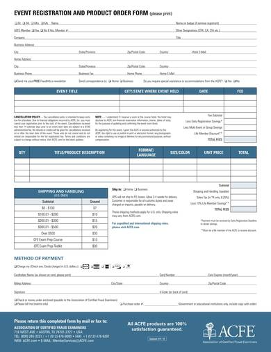 event registration and product order form sample