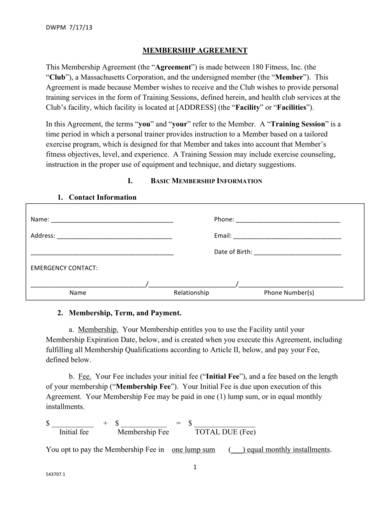 generic gym membership contract sample