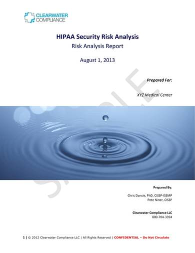 hipaa security risk analysis report sample 01
