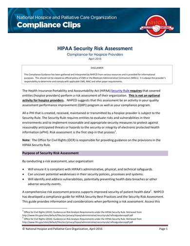 hipaa security risk analysis for hospice poviders