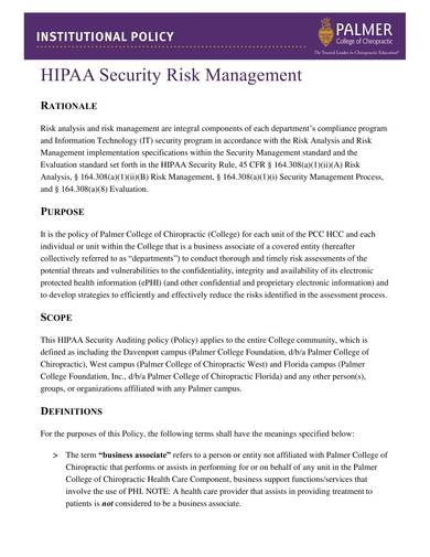 hipaa security risk management and analysis sample
