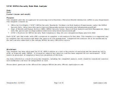hipaa security rule risk analysis template