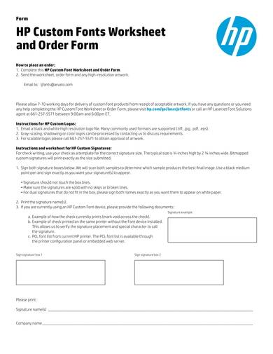 hp custom fonts purchase order form