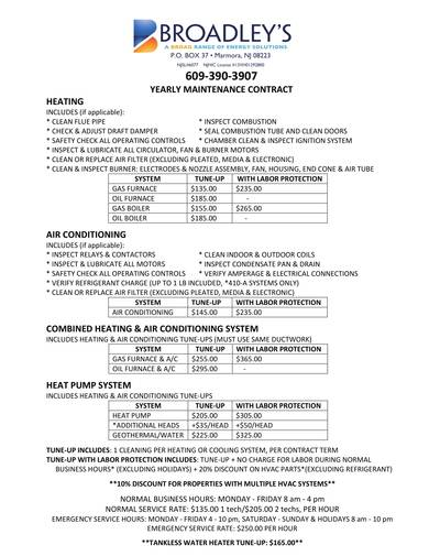 hvac yearly maintenance contract sample