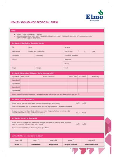 health insurance proposal sample form